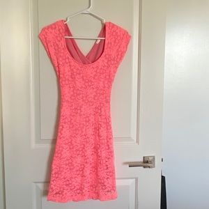 Garage Pink Floral Lace Dress